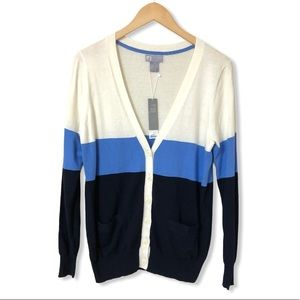 JCP Cashmere Blend Colorblock Cardigan—L